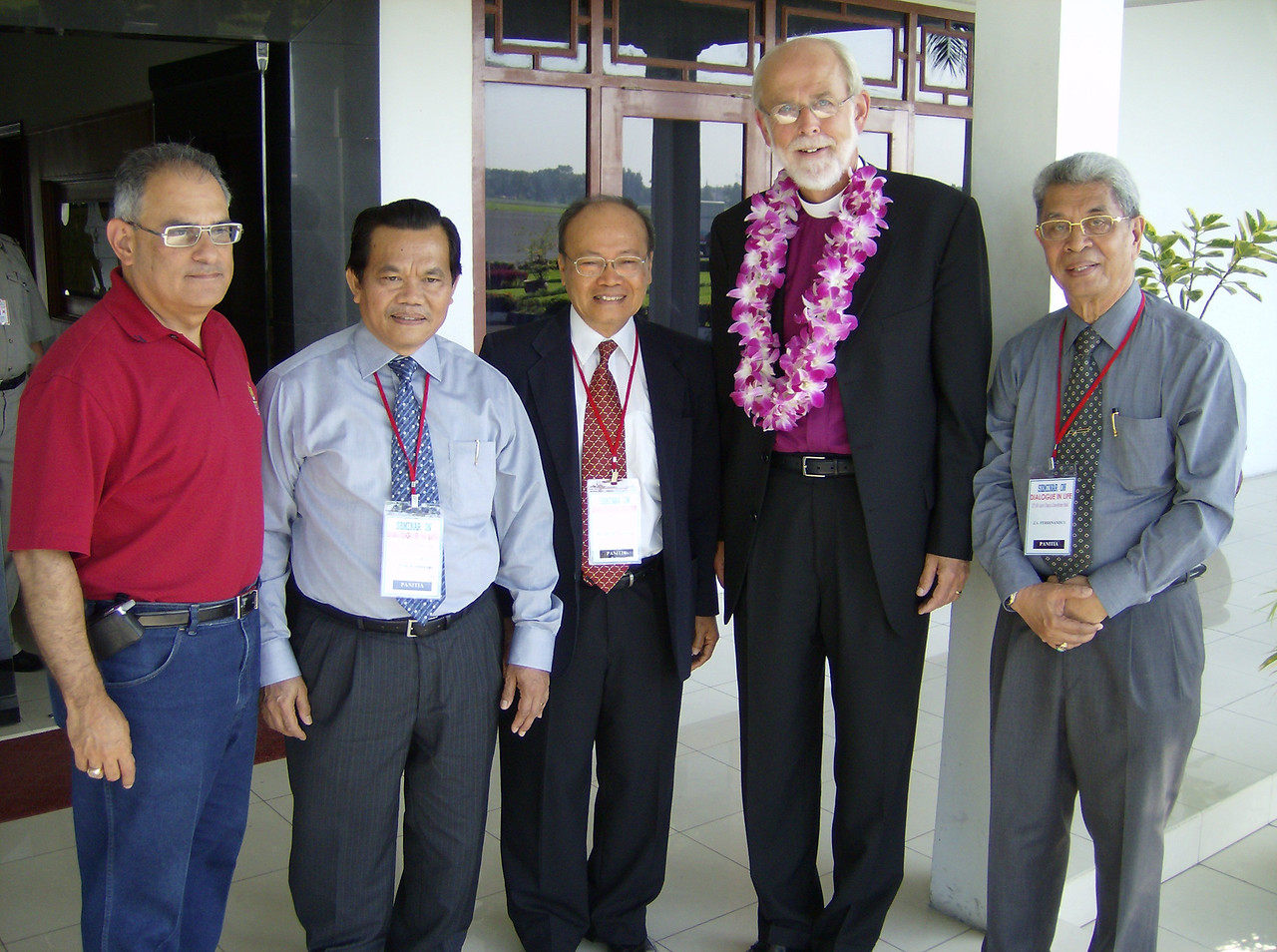 The Rev. Mark S. Hanson (2nd from right), ELCA presiding bishop and LWF  president, and the Rev. Rafael Malpica-Padilla (left), executive  director, ELCA Global Mission, were welcomed June 30 at the Medan  airport.