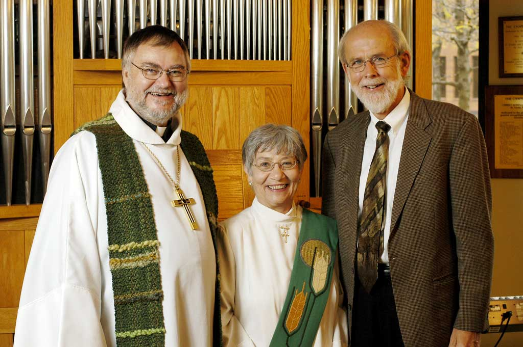 Left to right: The Rev. Raymond L. Schultz, national bishop, Evangelical Lutheran Church in Canada; Sister E. Anne Keffer, directing deaconess, Deaconess Community of the ELCA; and the Rev. Mark S. Hanson, presiding bishop, Evangelical Lutheran Church in America.
