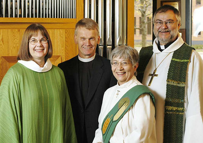 Left to right: The Rev. Rebecca S. Larson, executive director, ELCA Division for Church in Society; the Rev. Stanley N. Olson, executive director, ELCA Division for Ministry; Sister E. Anne Keffer, directing deaconess, Deaconess Community of the ELCA: and the Rev. Raymond L. Schultz, national bishop, Evangelical Lutheran Church in Canada.