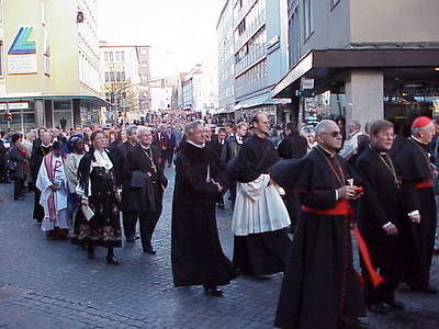 Participants in the Oct. 31 service process from the cathedral through the streets of Augsburg to St. Anna's (Lutheran) Church.
