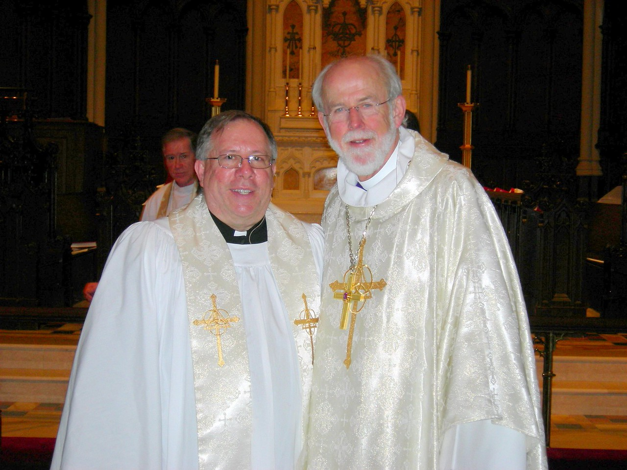 The Rev. Charles D. Bang, left, pastor of Holy Trinity Lutheran Church, Buffalo, N.Y. with Presiding Bishop Mark S. Hanson of the Evangelical Lutheran Church in America.