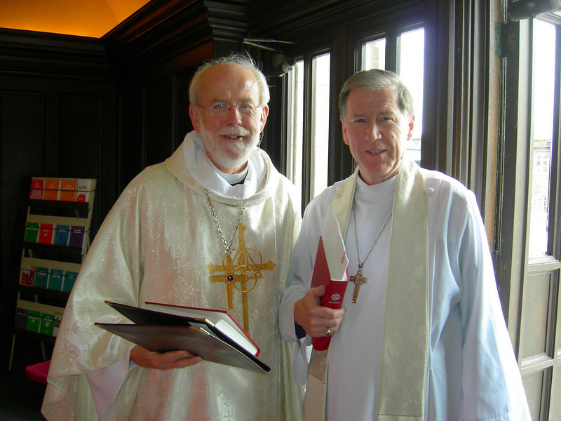Presiding Bishop Mark Hanson of the Evangelical Lutheran Church in America, left, presided at the May 1 celebration. Archbishop Fred Hiltz of the Anglican Church of Canada, right, preached.