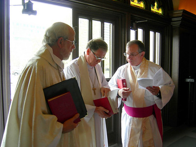 Presiding Bishop Mark Hanson of the Evangelical Lutheran Church in America, left, Archbishop Fred Hiltz of the Anglican Church of Canada, center, and Archdeacon A. Paul Feheley of the Anglican Church of Canada, meet before the May 1 service in Buffalo.