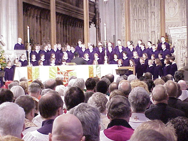 The internationally known St. Olaf Choir, Northfield, Minn., performed.