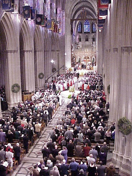 The Evangelical Lutheran Church in America and Episcopal Church celebrated their full communion relationship at the Washington National Cathedral on Jan. 6, 2001.