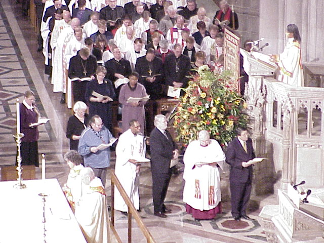 """The """"Prayers of the People"""" were offered in a variety of languages by members of both churches."""