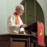"""Bishop Anderson based the evening's sermon on a common Moravian theme -- Christ, the Good Shepherd.  """"Jesus knows us, and yet he loves us,"""" he said.  """"He still lays down his life for us."""""""