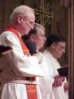 The Rev. H. George Anderson, presiding bishop of the ELCA, Chicago; the Rev. R. Burke Johnson, president of the Provincial Elders' Conference of the Moravian Church, Northern Province, Bethlehem, Pa.; and the Rev. Robert E. Sawyer, president of the Provincial Elders' Conference of the Moravian Church, Southern Province, Winston-Salem, (left to right) opened the worship service.