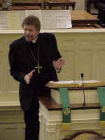 "The Rev. Leonard H. Bolick, bishop of the ELCA's North Carolina Synod, delivered a sermon during a late afternoon Moravian ""lovefeast"" at Home Church. He identified the new Lutheran-Moravian relationship with a marriage proposal he overheard recently in a restaurant."