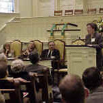Moravian and Lutheran influences in U.S. history were explored by (left to right) Dr. Susan W. McArver, Lutheran Theological Southern Seminary, Columbia, S.C.; Dr. Gary Freeze, Catawba College, Salisbury, N.C.; Dr. C. Daniel Crews, Moravian Archives, Winston-Salem, N.C.; and (standing) Dr. Nola Reed Knouse, Moravian Music Foundation, Winston-Salem, N.C.