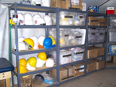 """Participants of the 2007 """"What a Relief!"""" -- an opportunity for students to spend their spring break helping survivors of the 2005 hurricane season rebuild -- are provided safety equipment. Lutheran Disaster Response is organizing What a Relief!"""