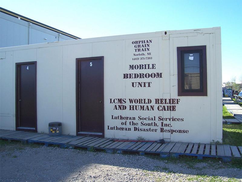 "Volunteers reside in ""mobile bedroom"" units at Camp Atonement, Metairie, La."