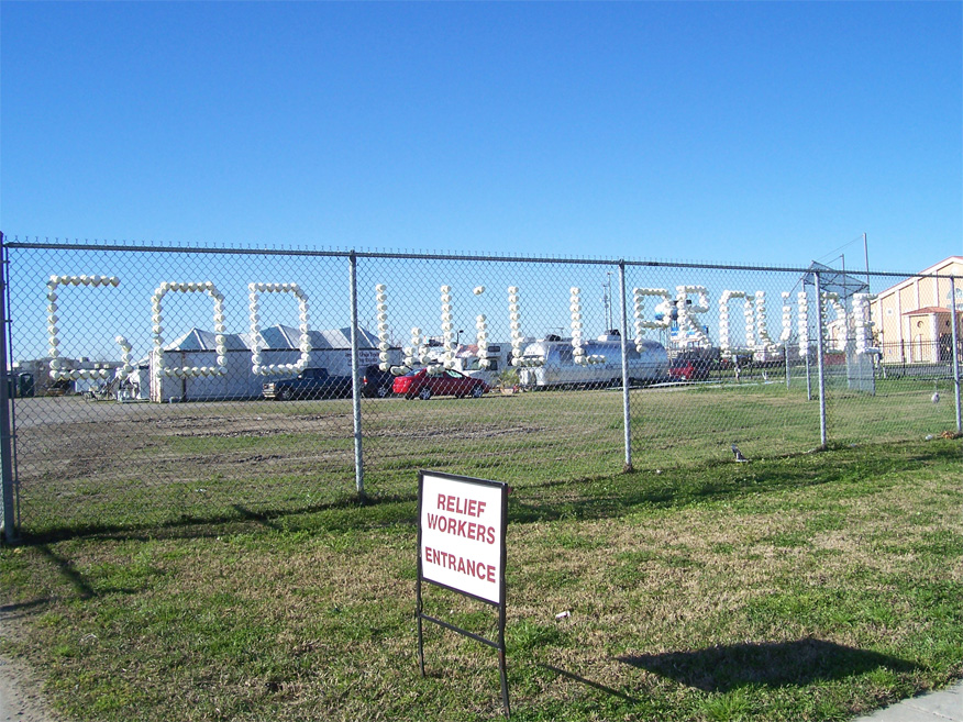 """""""God Will Provide"""" is etched in paper cups on the entrance gate of Camp Atonement, Metairie, La."""