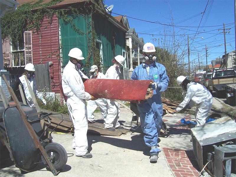 "A group of students from Valparaiso University, Valparaiso, Ind., muck out a house in the New Orleans area as part of 2007 ""What a Relief!"" -- an opportunity for students to spend their spring break helping survivors of the 2005 hurricane season rebuild. Lutheran Disaster Response is organizing What a Relief! Valparaiso is an independent Lutheran university."