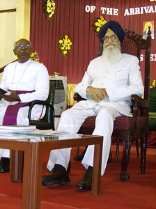 His Excellency Thiru Surjit Singh Barnala (right), governor of India's Tamil Nadu, sat beside Bishop Gideon Devanesan Rajagembeeram J., The  Arcot Lutheran Church, July 3 before giving the inaugural address of The Tranquebar Tercentenary Celebrations.