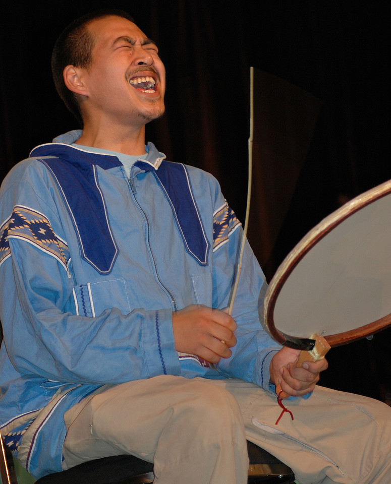 Luke Topkak, Alaska Native Lutheran Church, Anchorage, Alaska, plays the drum and sings during Tuesday night worship at the 2009 MYLE. (Carrie Draeger, 2009)