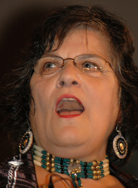 "Jennie Lightfoot sings a Native American song during worship at the 2009 MYLE.  Lightfoot serves in Native American ministry at ""One in the Spirit,"" an emerging church in St. Paul.  She will be ordained by the ELCA on Aug. 13. (Carrie Draeger, 2009)"