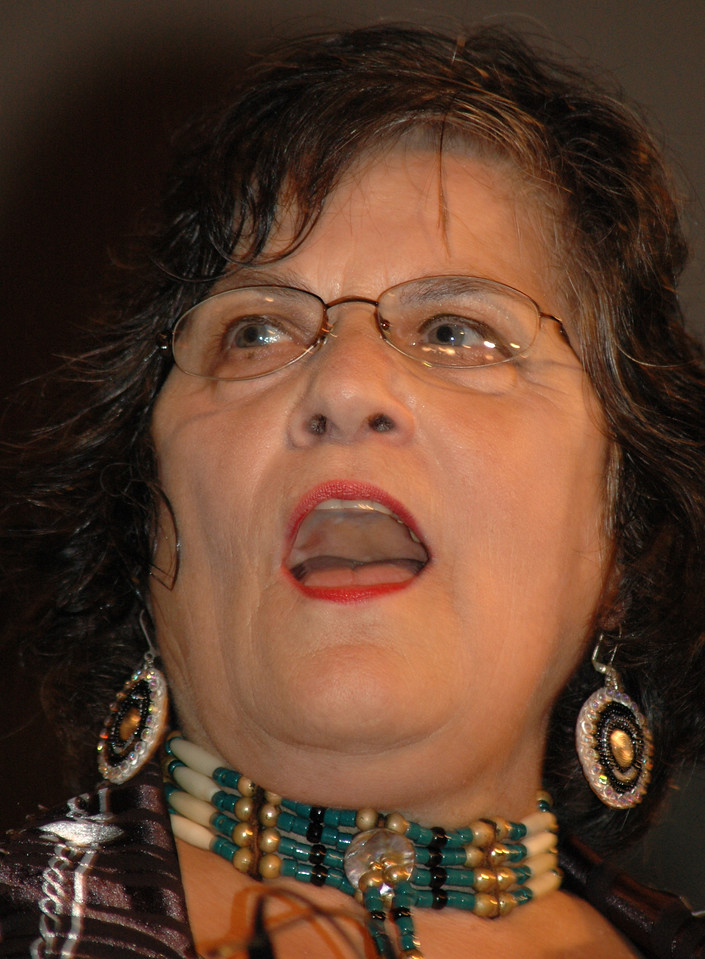 """Jennie Lightfoot sings a Native American song during worship at the 2009 MYLE.  Lightfoot serves in Native American ministry at """"One in the Spirit,"""" an emerging church in St. Paul.  She will be ordained by the ELCA on Aug. 13. (Carrie Draeger, 2009)"""
