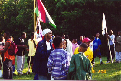 Brandon Sands and Simba Circle campers prepare for morning Libations ceremony.