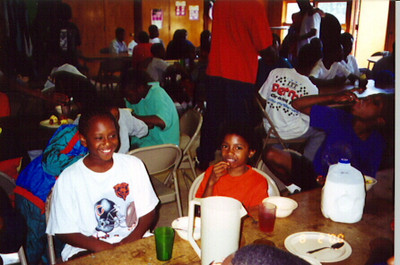 Simba Circle campers  at breakfast.