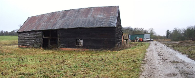 The derelict Medieval Barn before restoration.