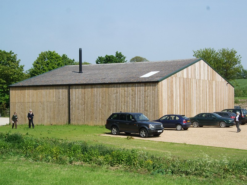 The existing barn behind the new wedding venue after the cosmetic facade improvements. The barn now contains a wood chip boiler that provides heat for both the Barn and Hall, using sustainable energy.