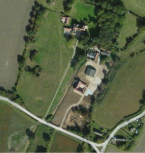 Aerial photo of Bruisyard Hall and the renovated Medieval Barn.