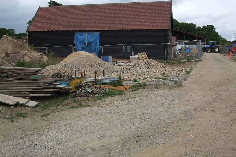 The Medieval Barn during renovation works.