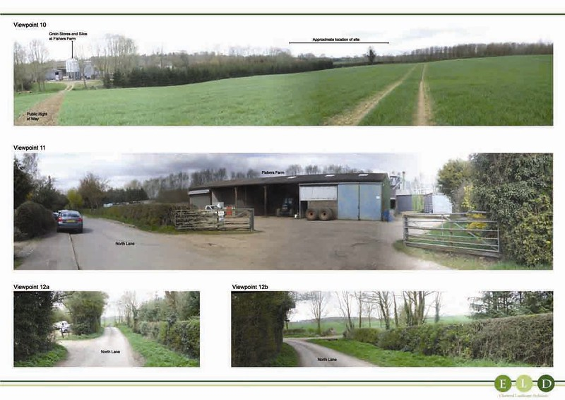 Extract from the ELD Landscape & Visual Impact Assessment Report, showing existing views across the agricultural field that now contains the log cabins.