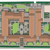 Colour Masterplan of the Extra Care site at Exning, to show the formal inner courtyard garden and outer garden with circular paths around a sensory garden, designed specifically for those suffering from Dementia.