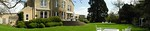 Panorama of the rear garden and terrace, today.