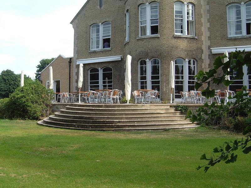 The rear garden, stone terrace.
