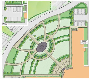 Final concept layout adopted for the main Quad, with relative symmetry across the path layout.