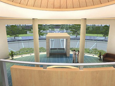 An extract from the 3D video, looking into The Quad from the upper stairwell, in reception.