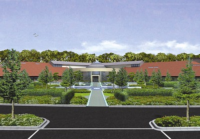 Wide angled view of The Quad entrance garden, taken from the 3D video.