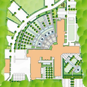 Masterplan concept option 1 of the HQ building layout.