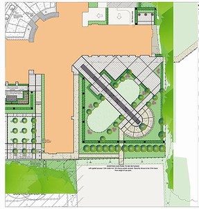 The concept layout for the Hospitality Garden, where guests would be entertained. Axial symmetry is carried through the central path leading from the Quad into this garden.