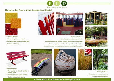 Concept images to illustrate the design for outdoor classrooms and educational feature areas.