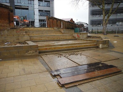 The new Further Education (FE)  building and step detail leading to the entrance, currently under construction.