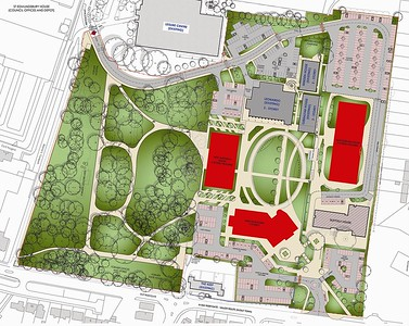 Coloured Masterplan of whole site redevelopment.