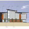 An architect's elevation of the proposed building.