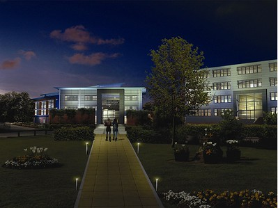 The architect's night time visual impression of the new building, seen from the new pedestrian path.