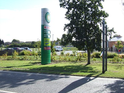 Image of the Littleport BP Garage, post development, with new landscape scheme implimented.
