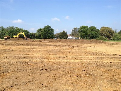 View from the east, looking west towards the house across the lake area, after topsoil strip and the start of excavation works.