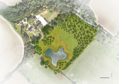 ELD artist's impression of the pond, within the grounds of the property.