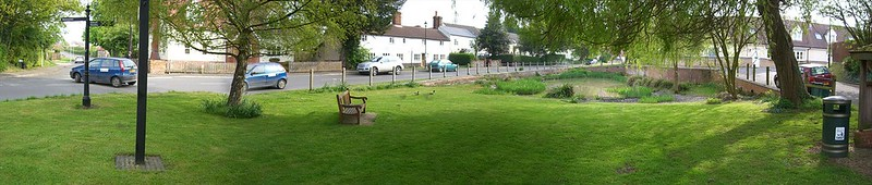 BEFORE: Panoramic view of the existing pond within the Conservation Area; with dangerous willow tree to right that needed to be felled due to a large crack in its trunk, capable of trapping a child's hand.