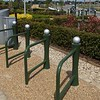 "Photographs of the completed scheme with ELD bespoke design cycle stands, called ""The Fathom""."