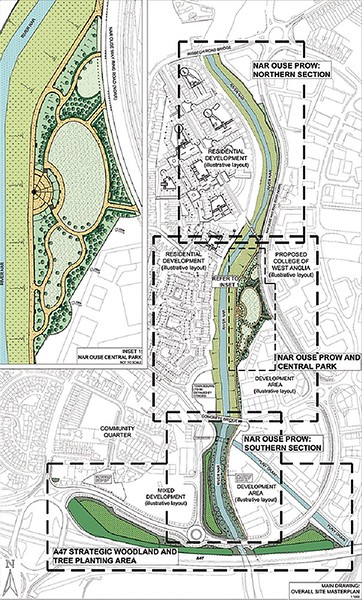 ELD masterplan for the NORA site, leading from the Marina in the north, to the A47 in the South, with the Park central to the River Nar Footpath.
