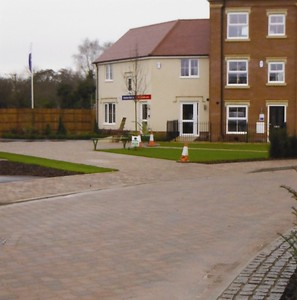 The Town Square and show house,  just after completion of planting.