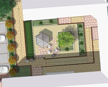 Plan of Courtyard 2, with detailed images of design elements to follow.